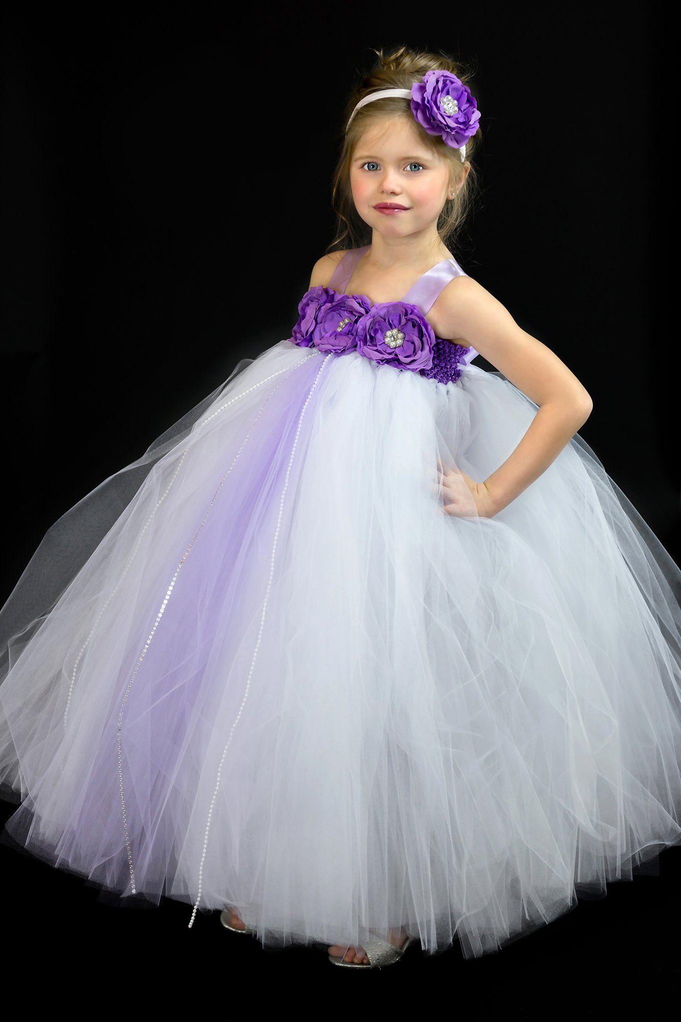 White And Purple Flower Girl Dress White Tutu White And Purple