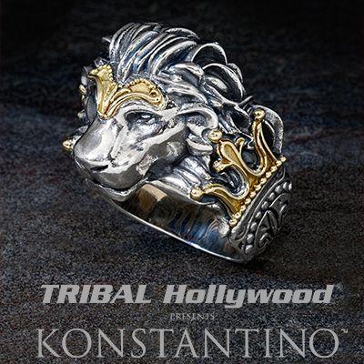 1c61073e9 Konstantino GREEK MYTH LION HEAD Silver and 18K Gold Mens Ring ...