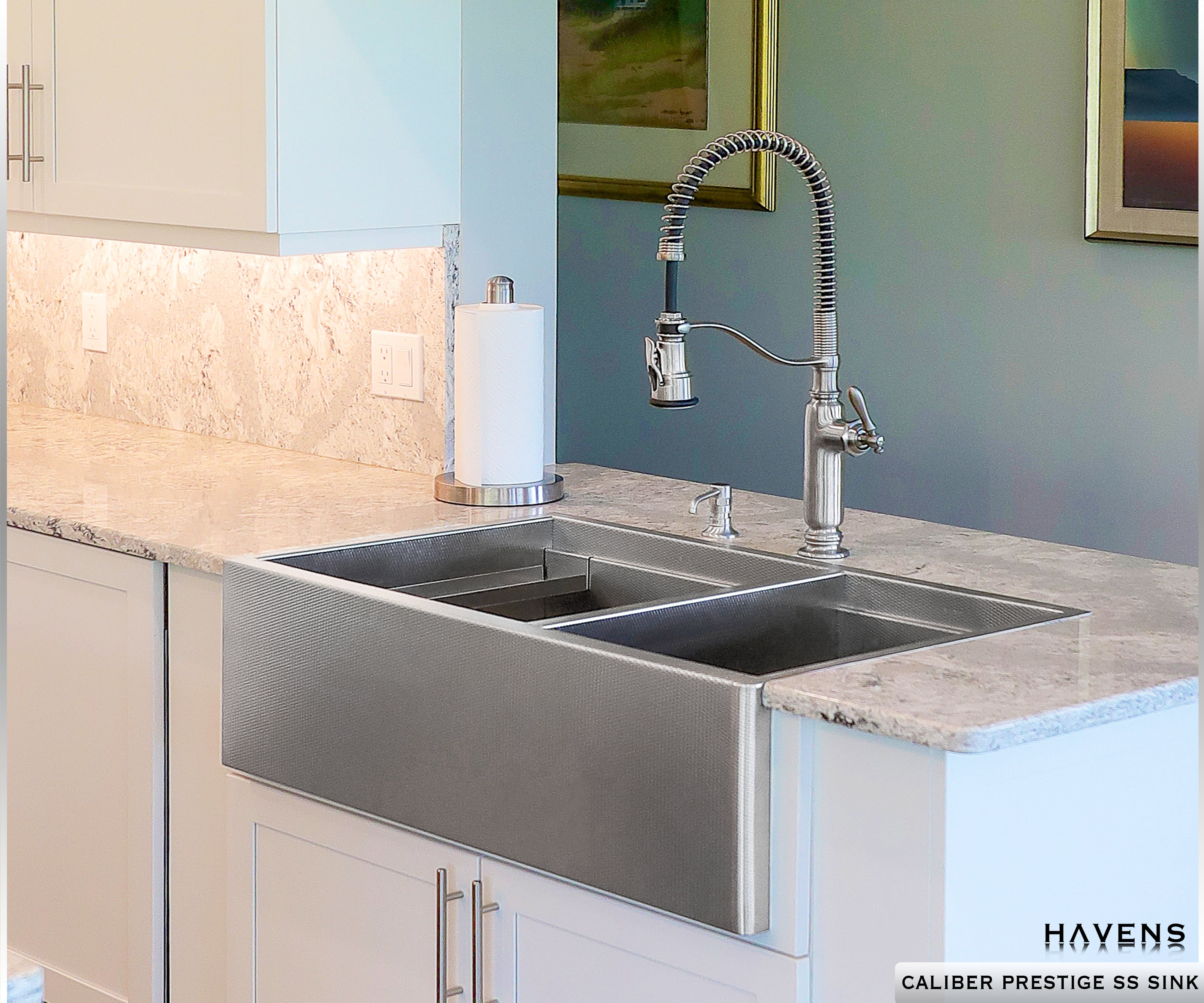 Caliber Stainless Farmhouse Sink Double Bowl In 2020 Double Bowl Sink Sink Stainless Steel Sinks
