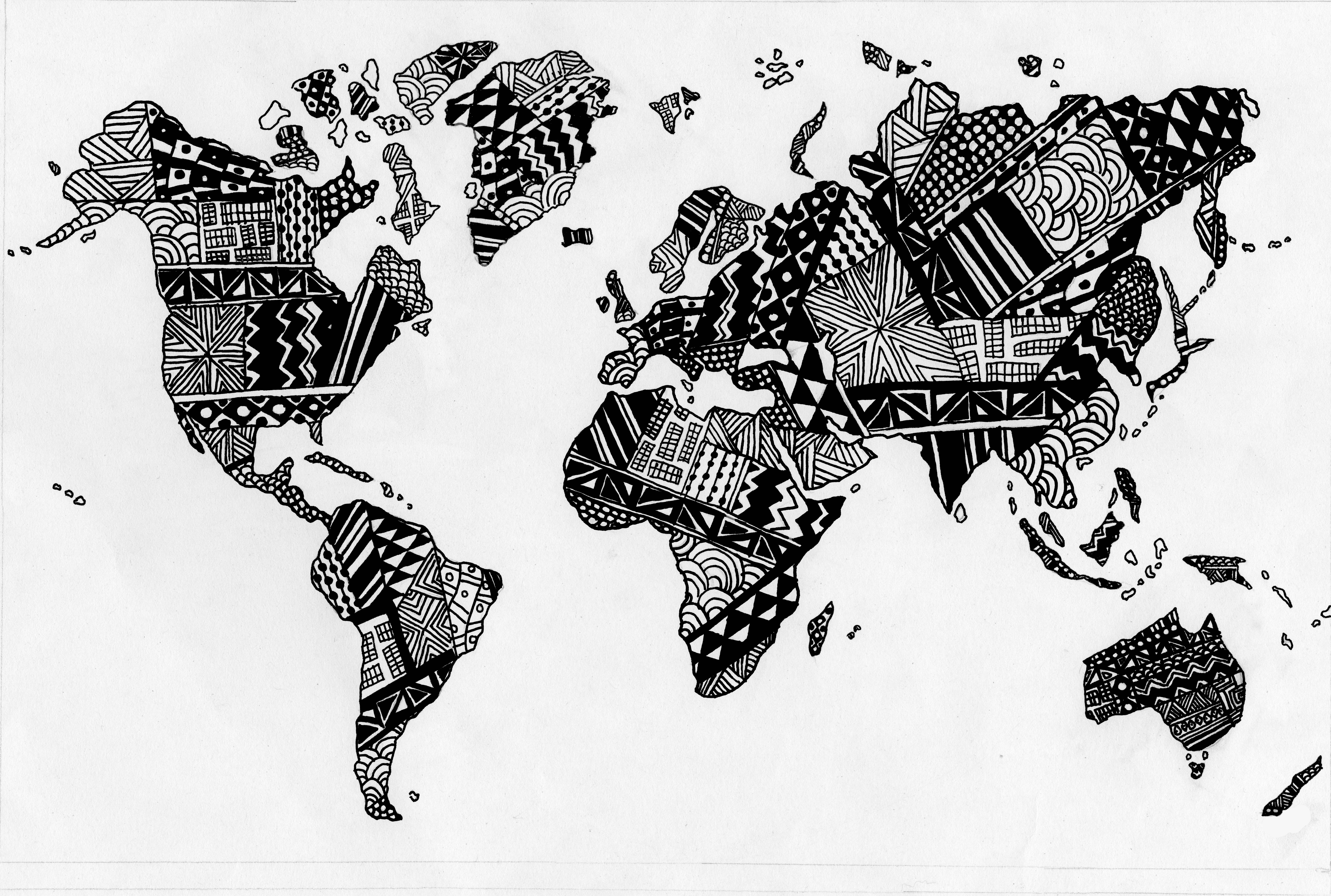 Hand Drawn Zen World Map © How to draw hands, Drawings, Map