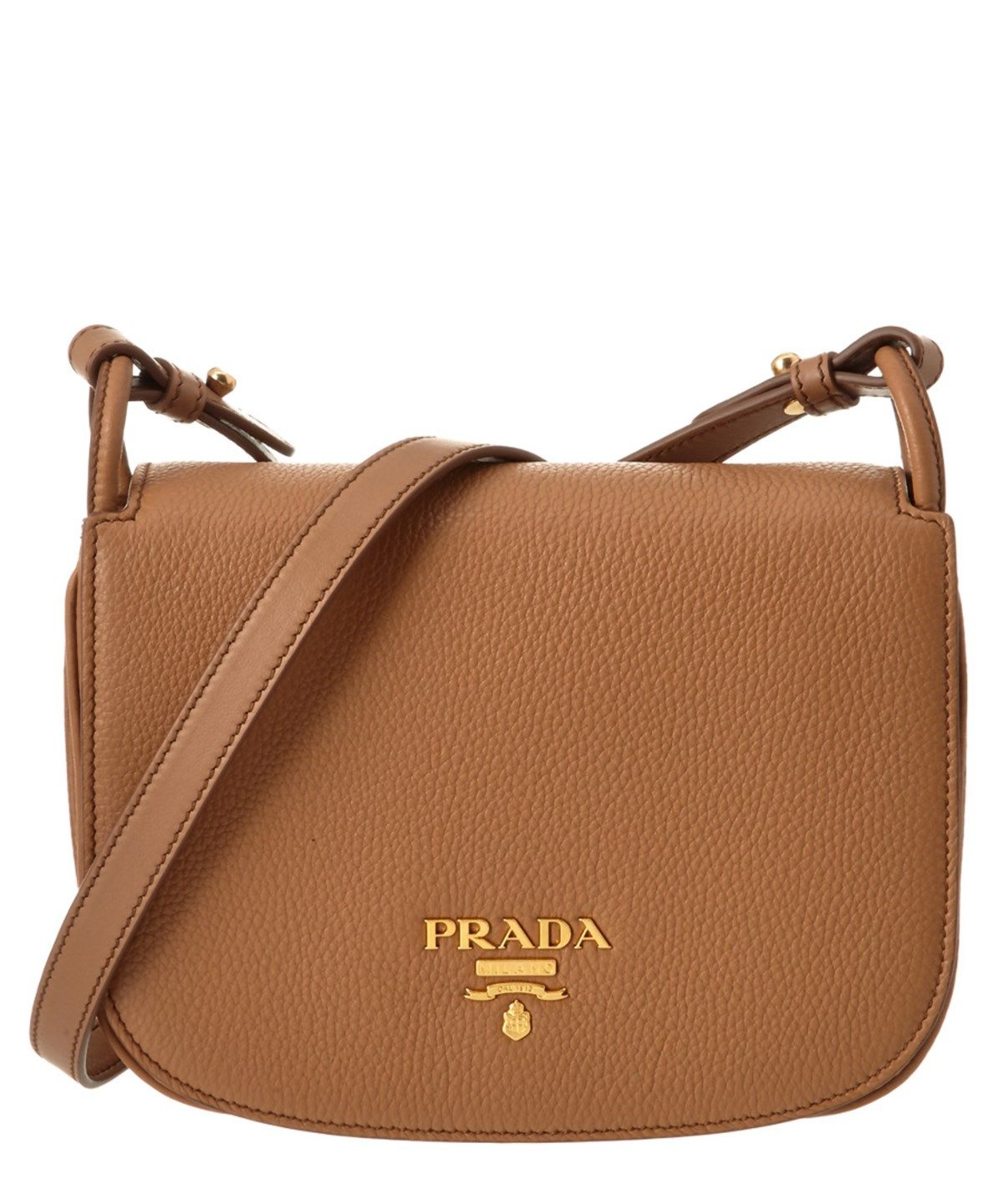 7eebe98bdae999 PRADA PRADA PEBBLED LEATHER SADDLE BAG'. #prada #bags #shoulder bags # leather #lining #