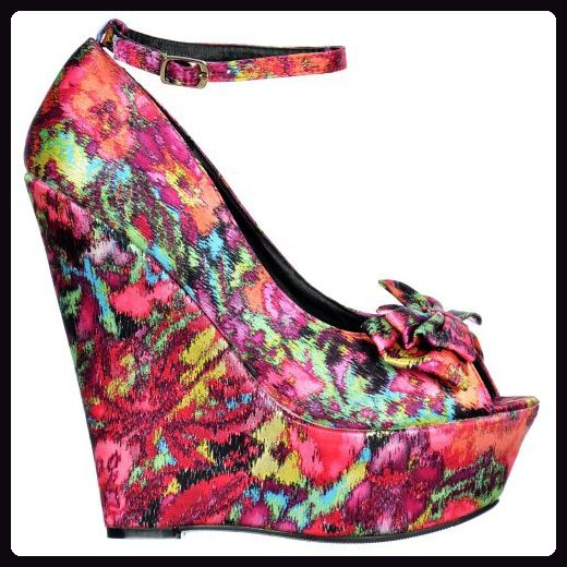 Onlineshoe Satin Wedge Peep Toe Platform Schuhe Bow and Ankle Strap Floral Bunt