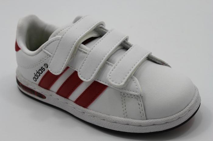 Coole Adidas sneaker in het wit leer met rode strepen.. voor ...