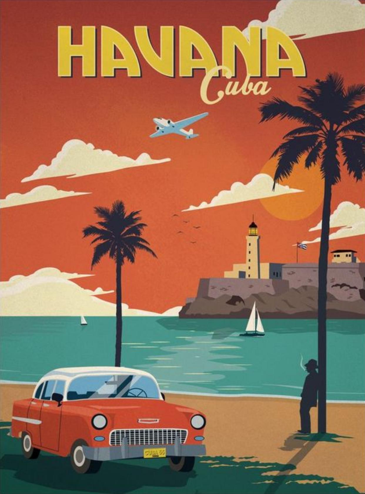 Havana Cuba Retro Travel Poster Retro Poster Vintage Travel Posters