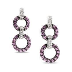 10k White Gold Created Pink Sapphire and Diamond Earrings