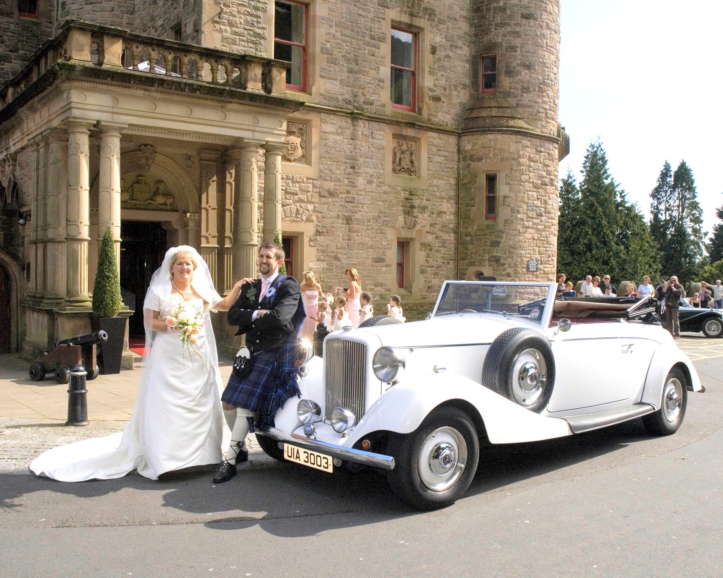 David Andrews Wedding Cars Belfast White Royale At Belfast Castle Www Davidandrewsweddingcars Com Wedding Car Belfast Castle Castle
