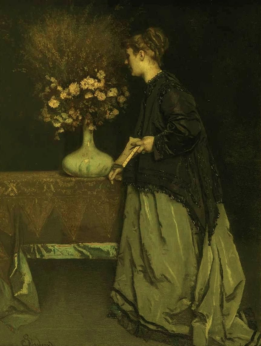 """""""Autumn Flowers,"""" 1867, by Belgian painter Alfred Stevens. Beautiful treatment of fabrics and trims. From the Royal Museum of Fine Arts in Brussels via My Ear-Trumpet Has Been Struck by Lightning."""
