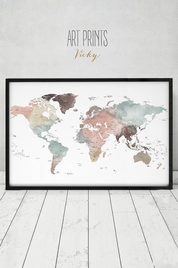 Detailed world map print large world map poster pastel travel map detailed world map print large world map poster pastel gumiabroncs Image collections