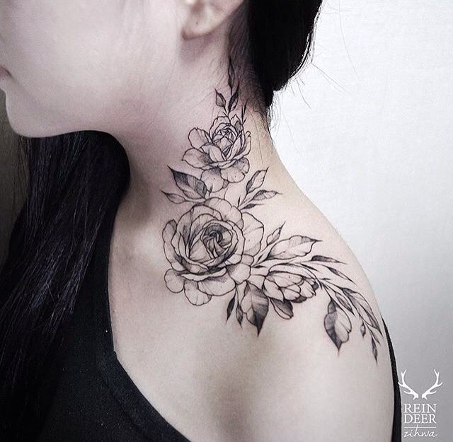floral rose neck tattoo feminine tattoos. Black Bedroom Furniture Sets. Home Design Ideas