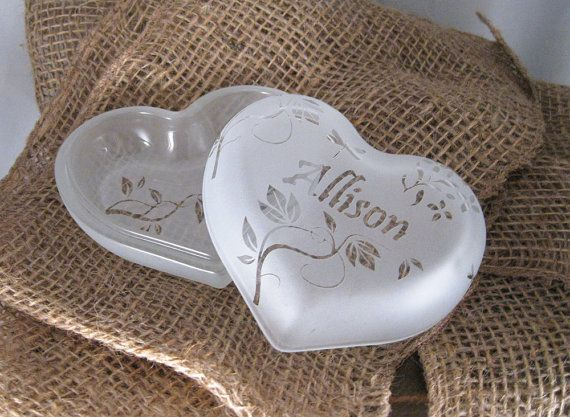 Perfect for bridesmaids gifts!  Glass Heart Shaped Trinket Box Personalized by BeedazzledDesigns, $25.00