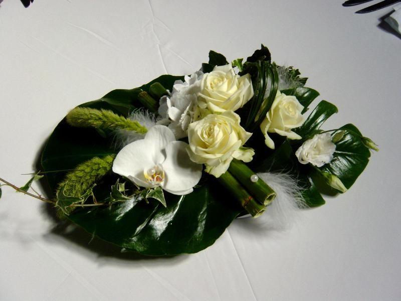Belle compo j 39 adore les roses et les orchid es d coration mariage vert - Vase plat centre de table ...