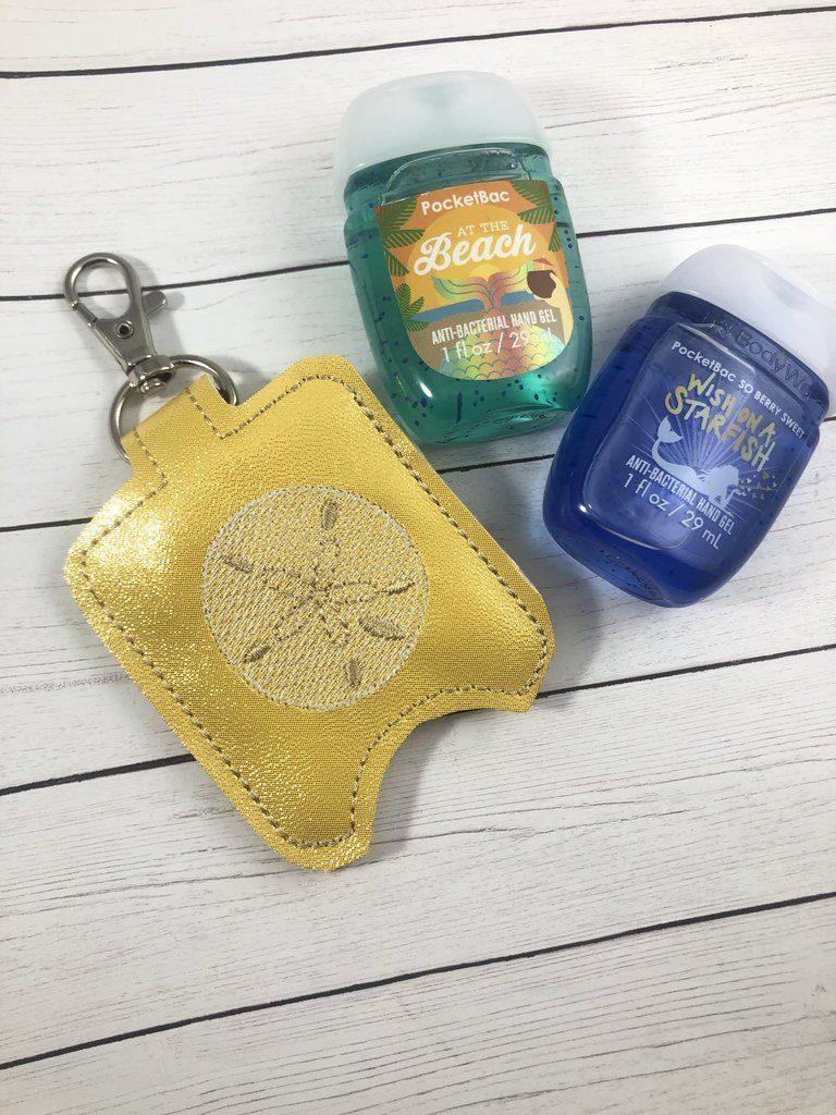 Sand Dollar Hand Sanitizer Holder Snap Tab In The Hoop Embroidery