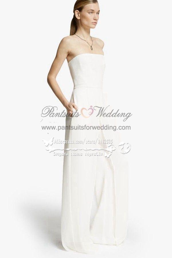 68f36c494c0f Simple pant suit wedding dress BA-059