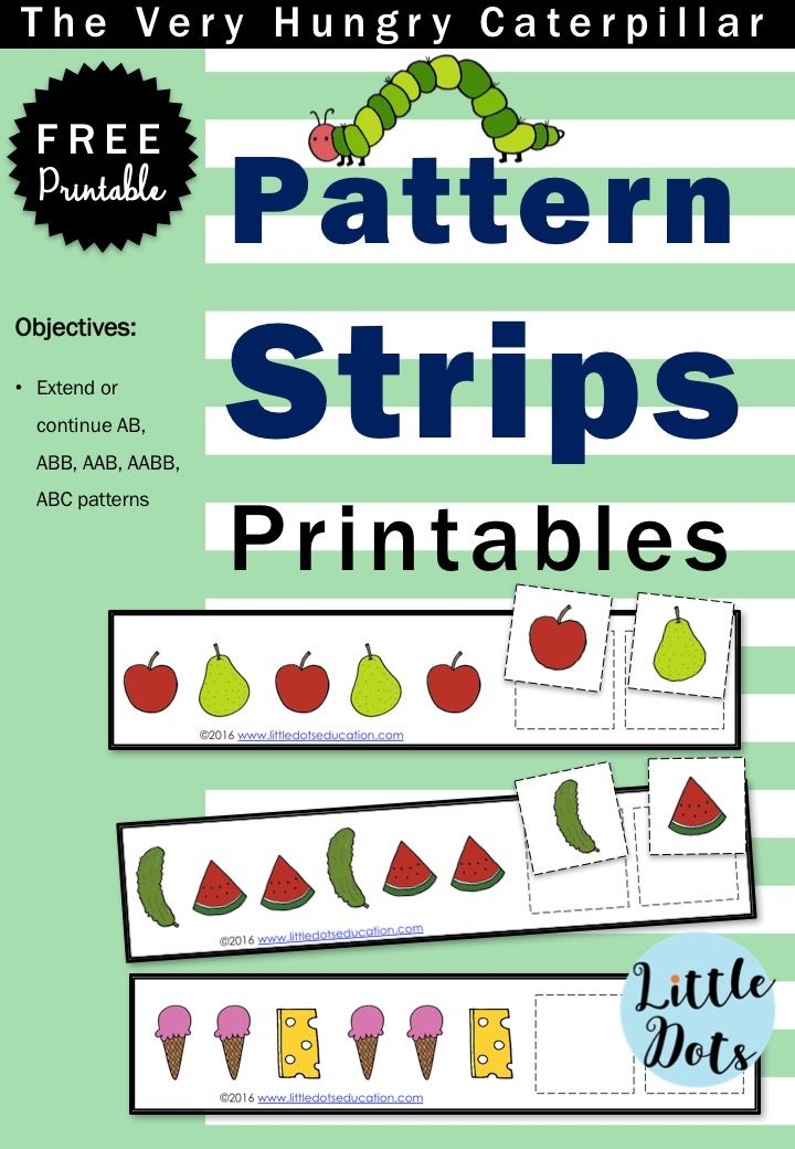 The Very Hungry Caterpillar Theme Free Pattern Strips