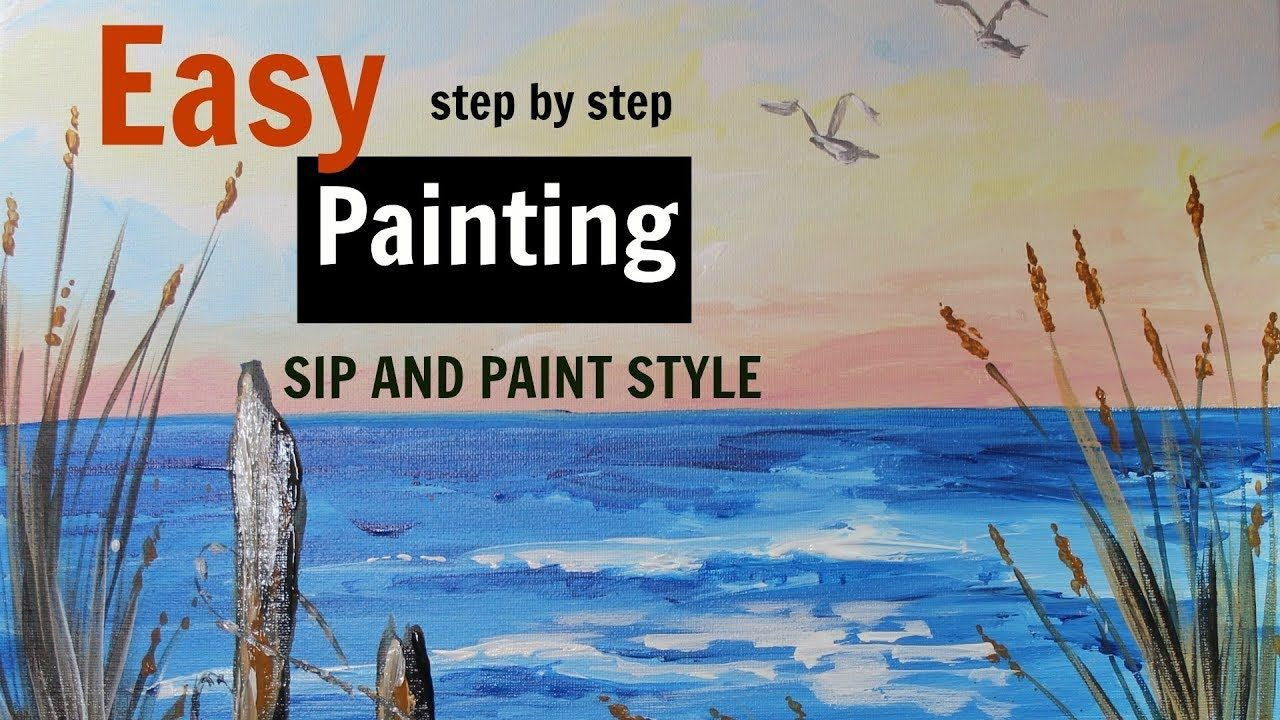 Easy Beginner Painting Sip And Paint Style Step By Step Beach Painting Beach Painting Step By Step Painting Beginner Painting