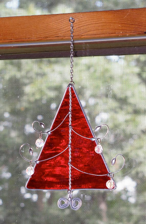 Stained Glass Suncatcher Red Christmas Tree with by GLASSbits ...