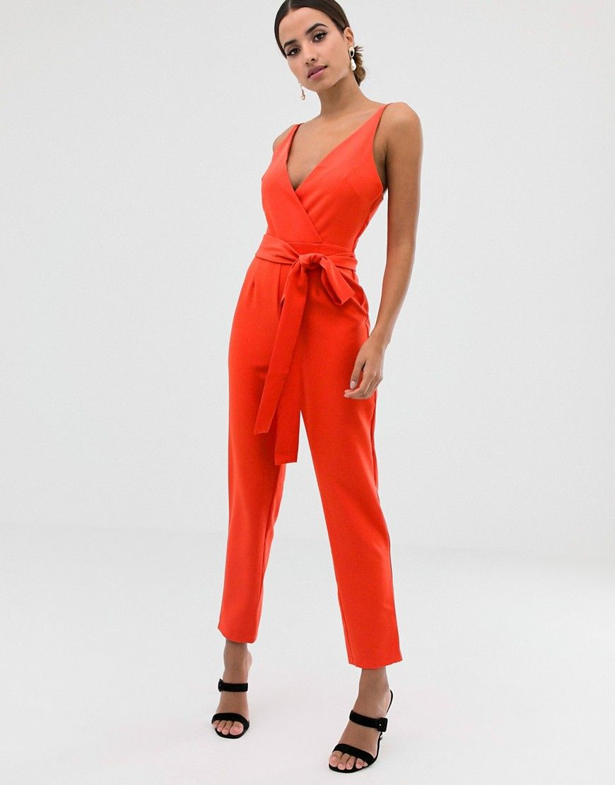 ASOS Wrap front jumpsuit with peg leg and self belt in tomato red
