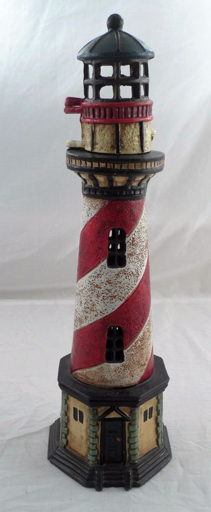 17 Quot Cast Iron Red White Striped Lighthouse Doorstop W