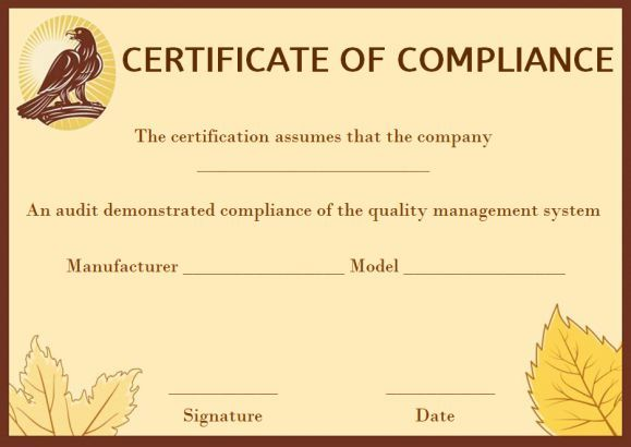coc certificate of compliance template certificate of compliance
