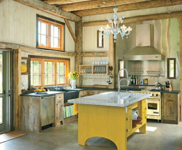 Küche Design gelb kücheninsel holz idee | Wohnraum | Pinterest ...