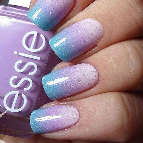 Blue Purple White Ombre Rainbow Unicorn Fingernail Polish