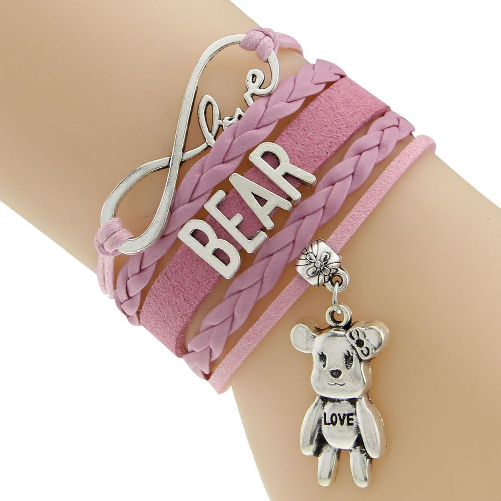 Waxed cord and braided cord new pattern bear bracelet design