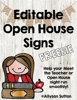 Burlap & Shiplap Editable Open House Signs FREEBIE #meettheteachernight