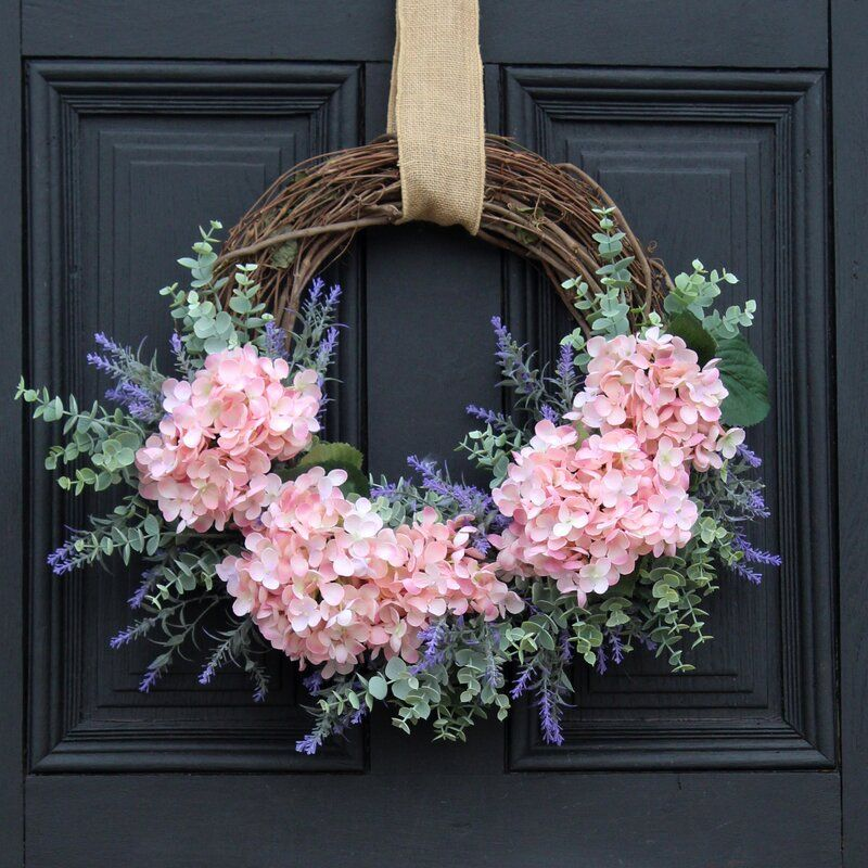"""Photo of Asymmetrical everyday front door 22 """"polyester and silk wreath"""