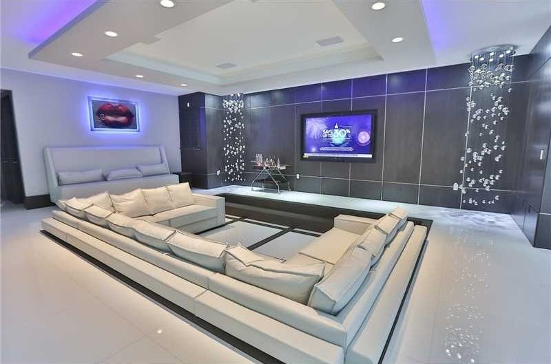 theaters throughout living room home design new | white interior modern home theater | Living room home ...