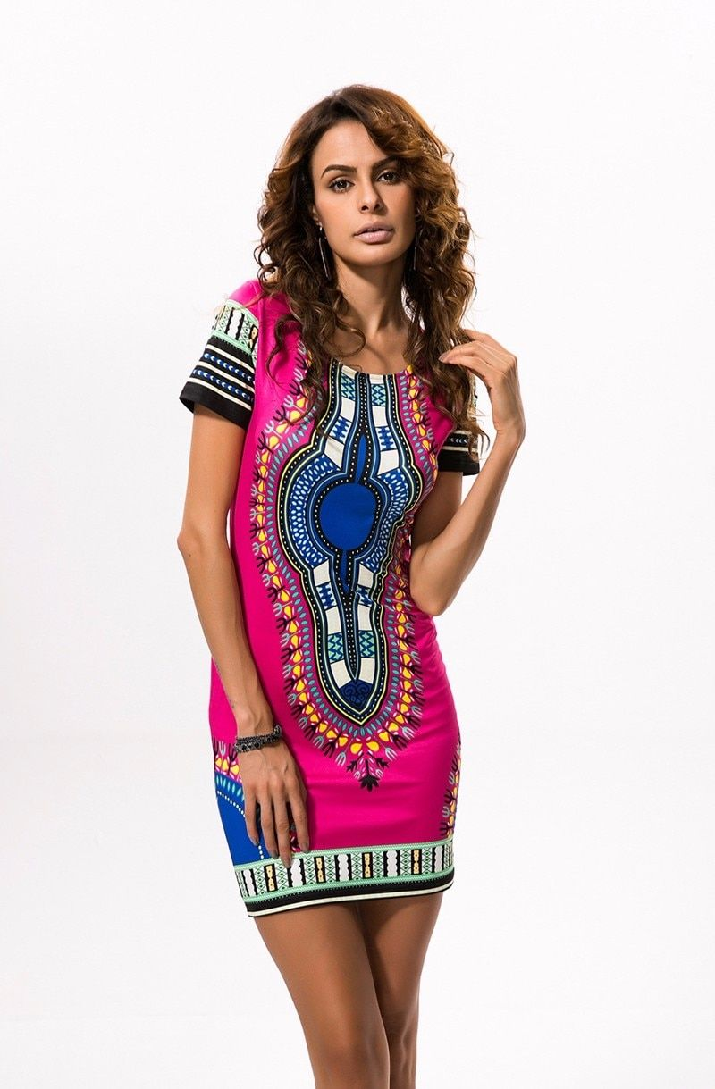 7ac1d0a2f35 Summer Dashiki Dress for Women 2019 Casual Mini African Print Sundress  Ladies African femme Clothing Indian Dresses