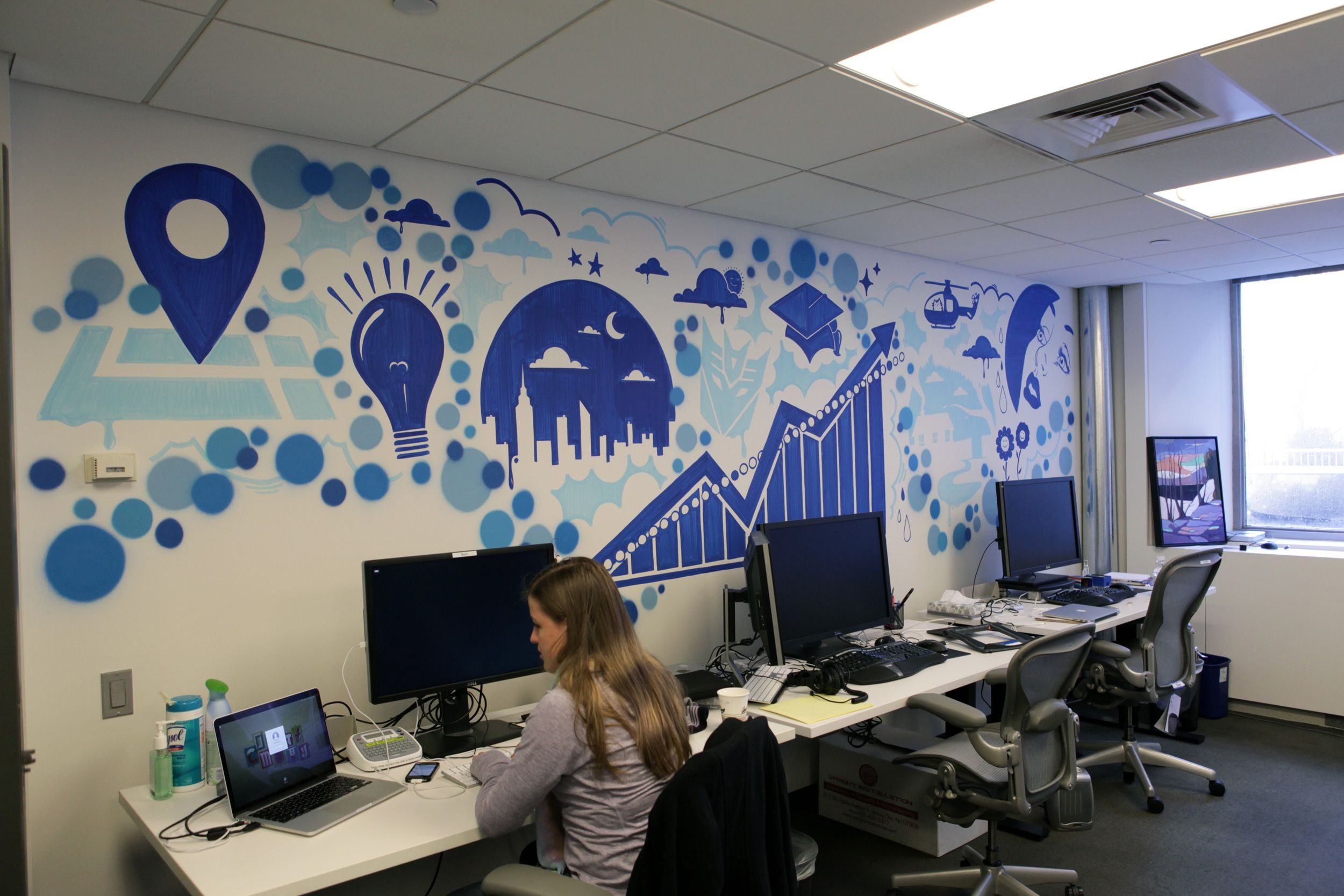 Color art office interiors - Facebook Office Google Search