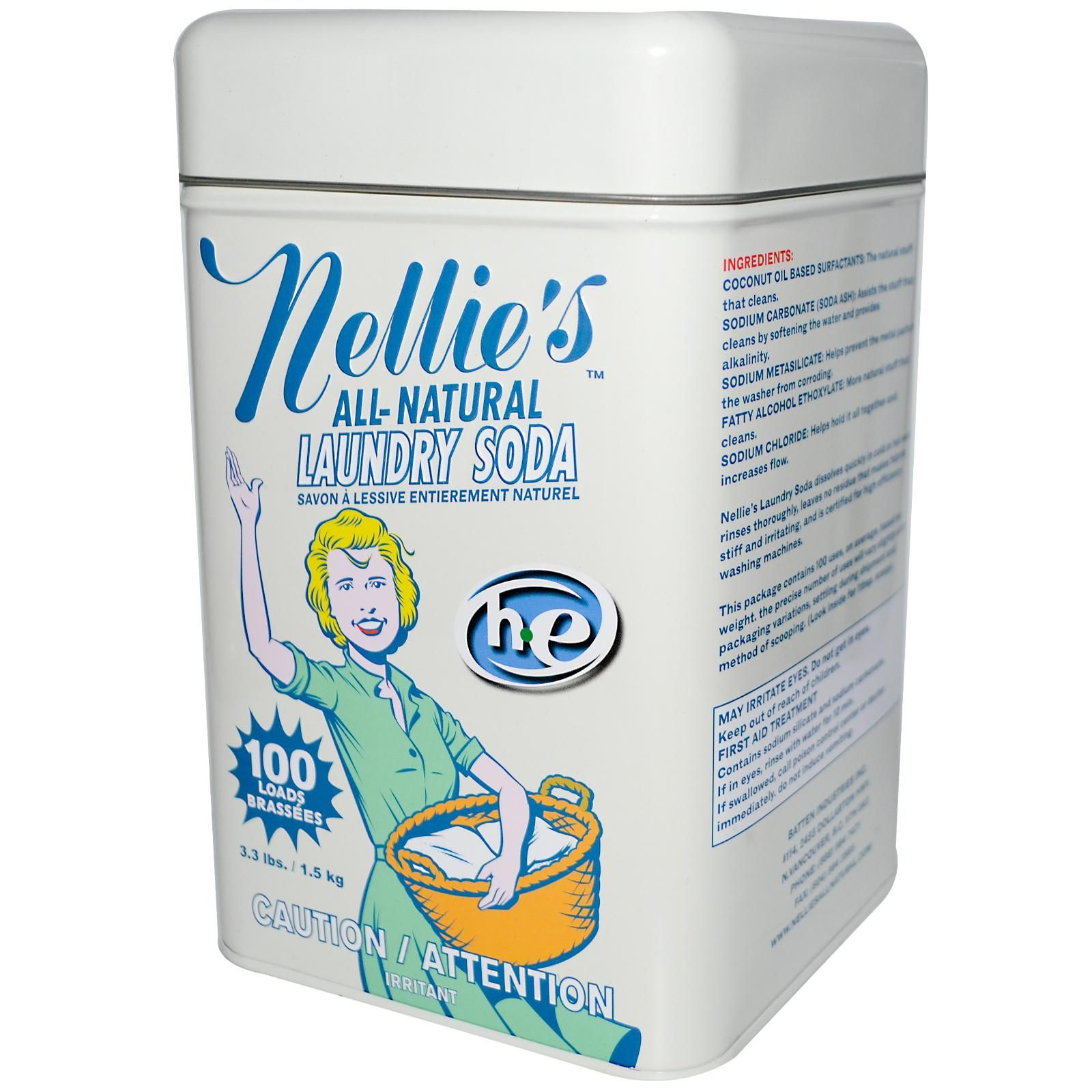 Nellie S Laundry Soda 100 Loads 3 3 Lbs 1 5 Kg With Images