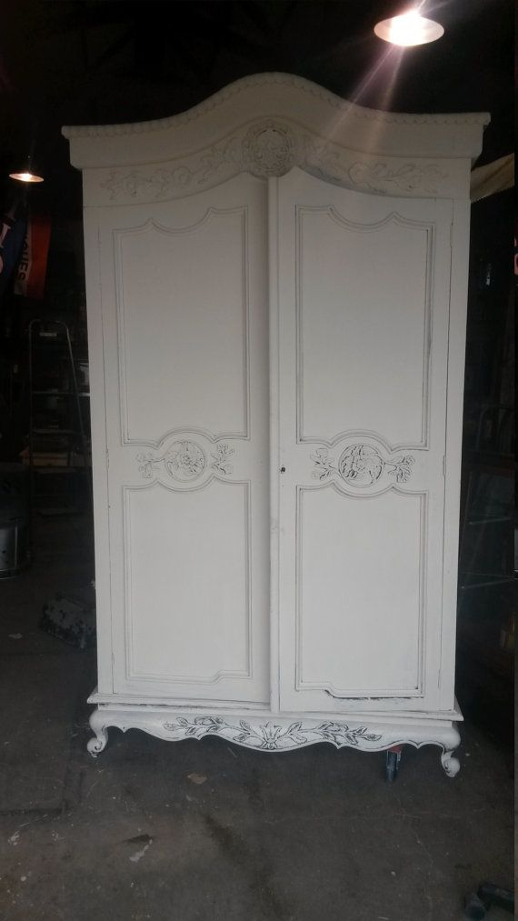 Chalk Painted Armoire Large Huge White Old Ochre Walnut Wood Antique Vintage  Traditional Shabby Chic Ornate
