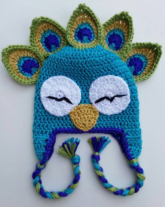 Peacock Bird Animal Hat: Crochet Infant Child Adult Hat Beanie ...