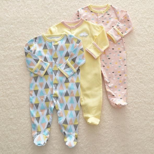 e5b3d2aef2dbe 3Pcs Newborn Baby Girl Romper Winter Baby Boy Jumpsuit Clothes 100% Co –  eosegal