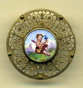Antique Button Enamel Plaquette with Delicate Brass Openwork and Cherub