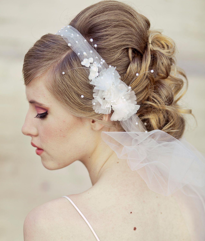 wedding hair, veil headband tie of net pearls and flowers, veil