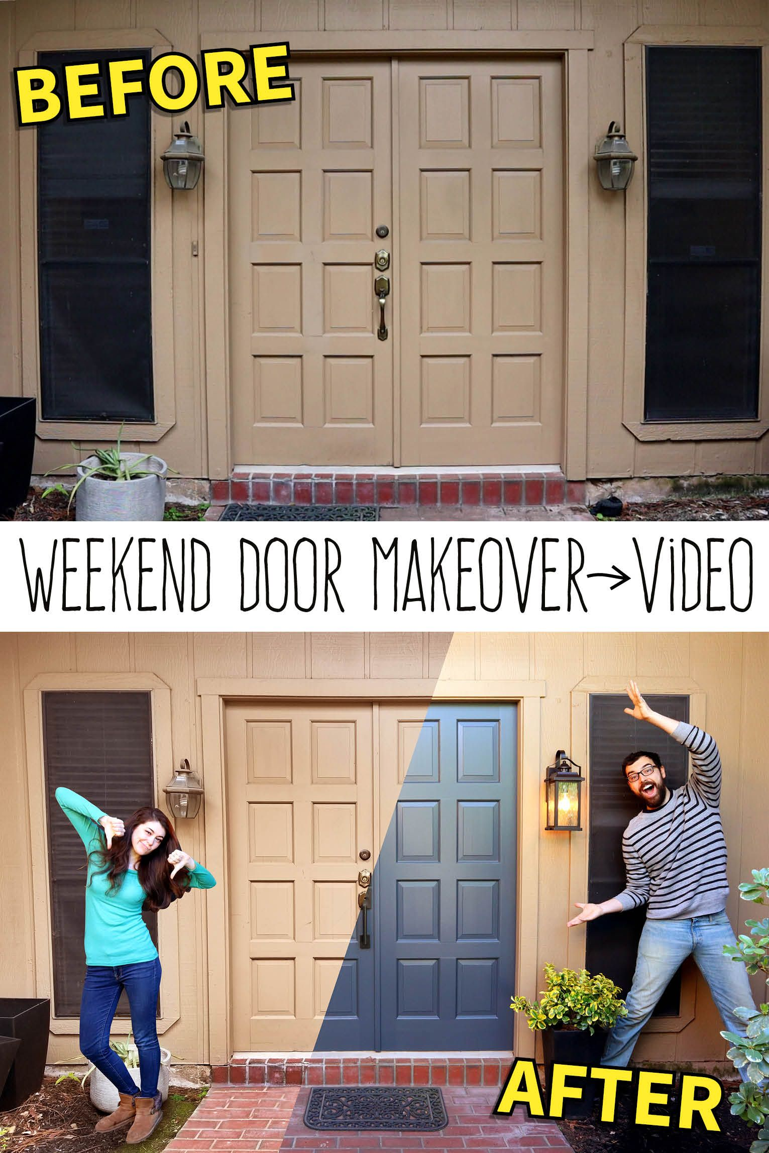 A Weekend Door Makeover Anyone Can Do Door Makeover Garage Door Design Front Door Makeover