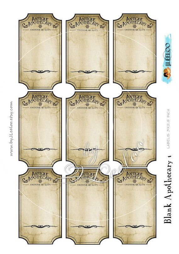Extrem BLANK APOTHECARY editable printable tags label - poison bottle jar  RA54