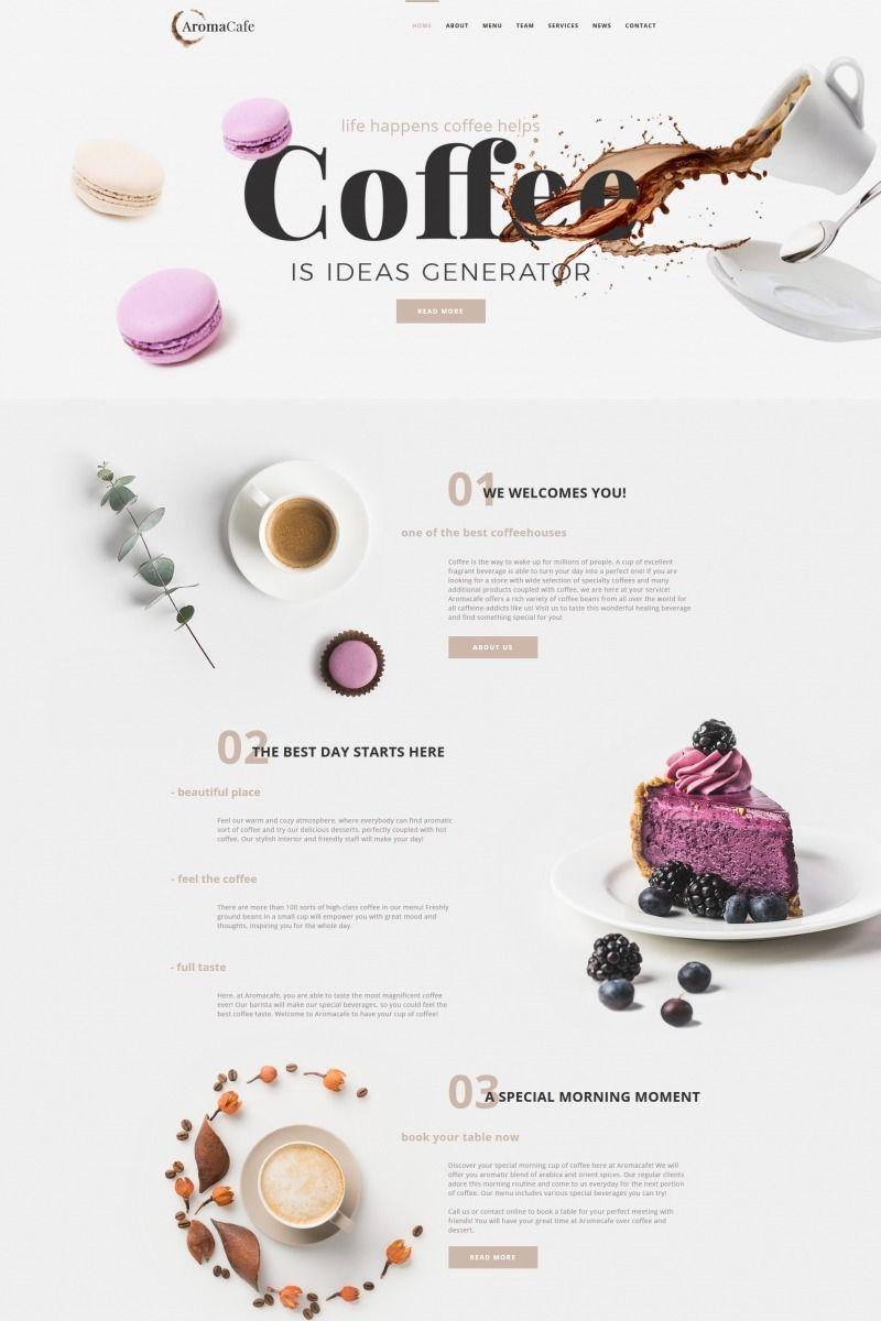 Aromacafe - Coffee Shop Moto CMS HTML Template #68016