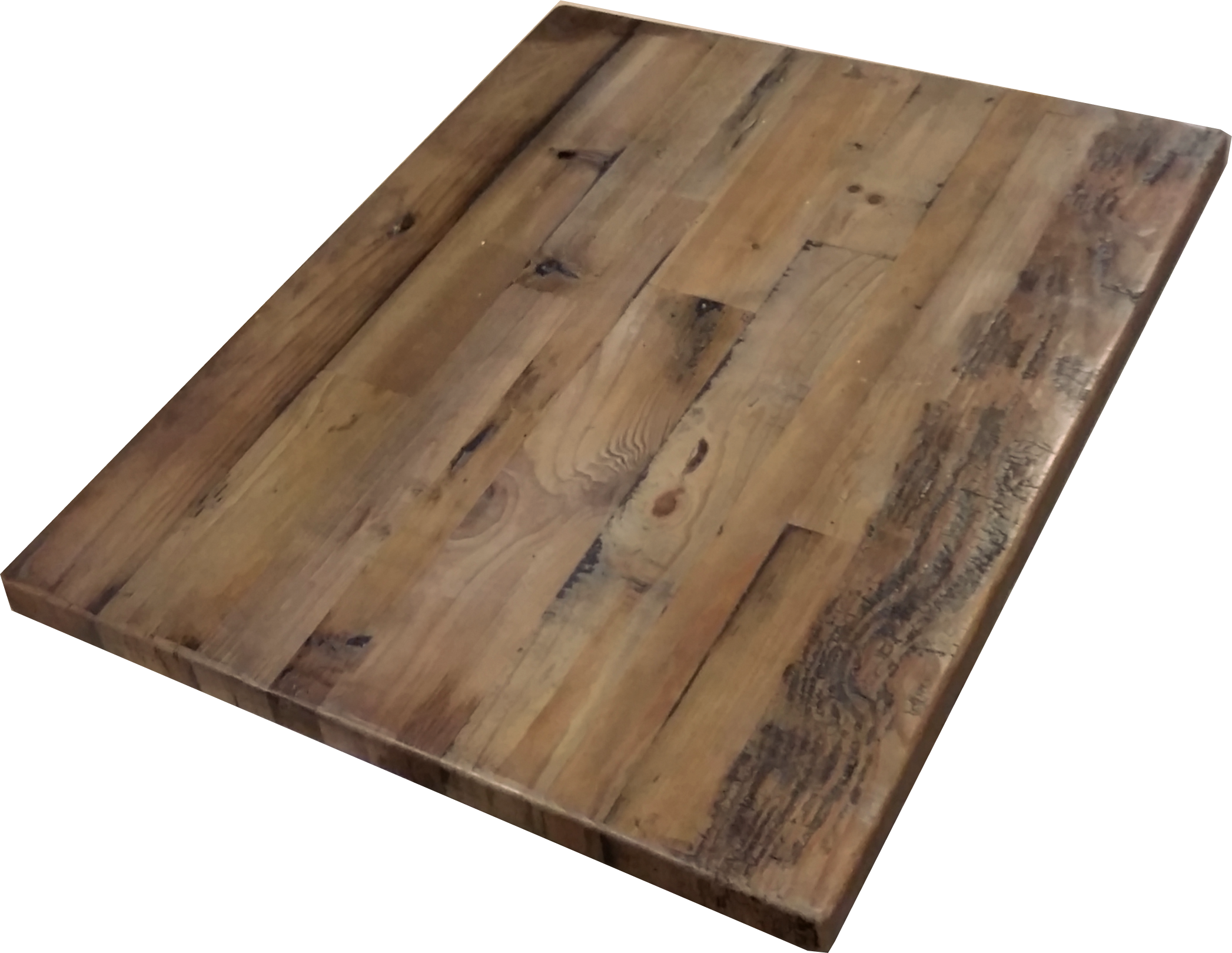 Our Reclaimed Wood Import Table Tops are made of mixed width