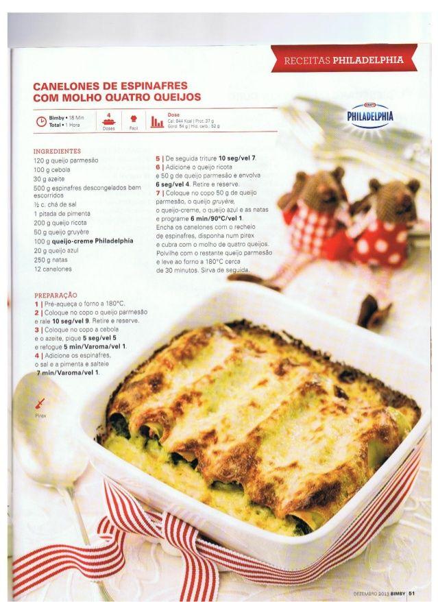 Canelones de espinafres e quatro queijos