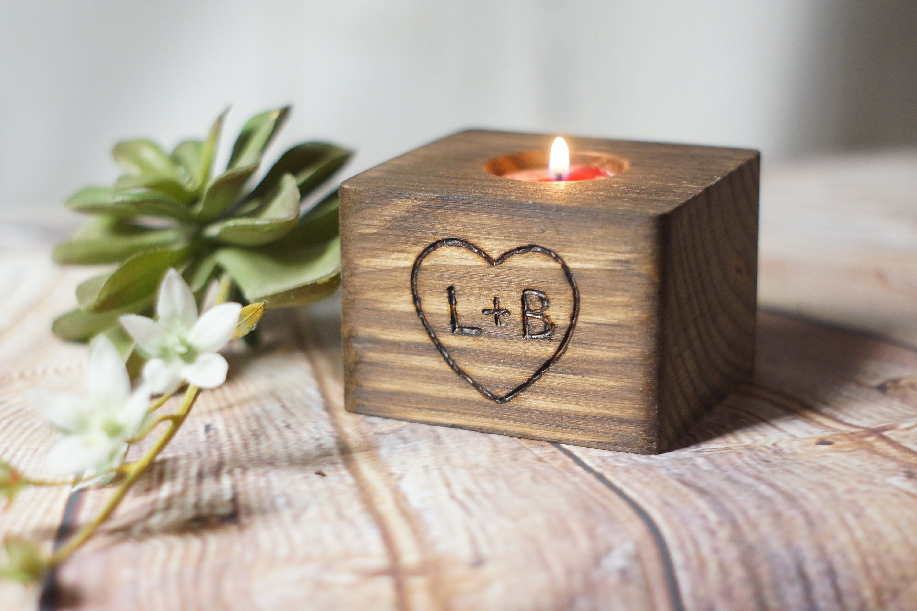 Personalized Hand Burned Candle Holder, Rustic Home Decor ...
