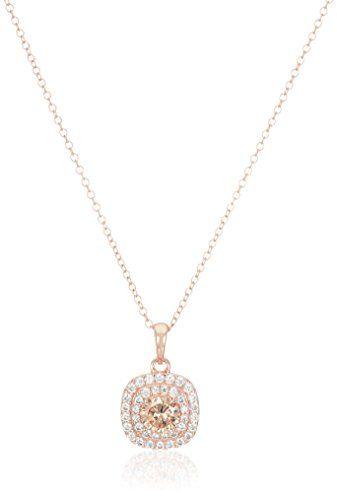 """Rose Gold Plated Sterling Silver Round Champagne Cubic Zirconia 6mm and White Cubic Zirconia Double Halo Pendant Necklace, 18"""". Imported."""