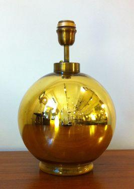 Lampe boule en verre églomisé Hauteur : 38 cm, Diamètre : 26