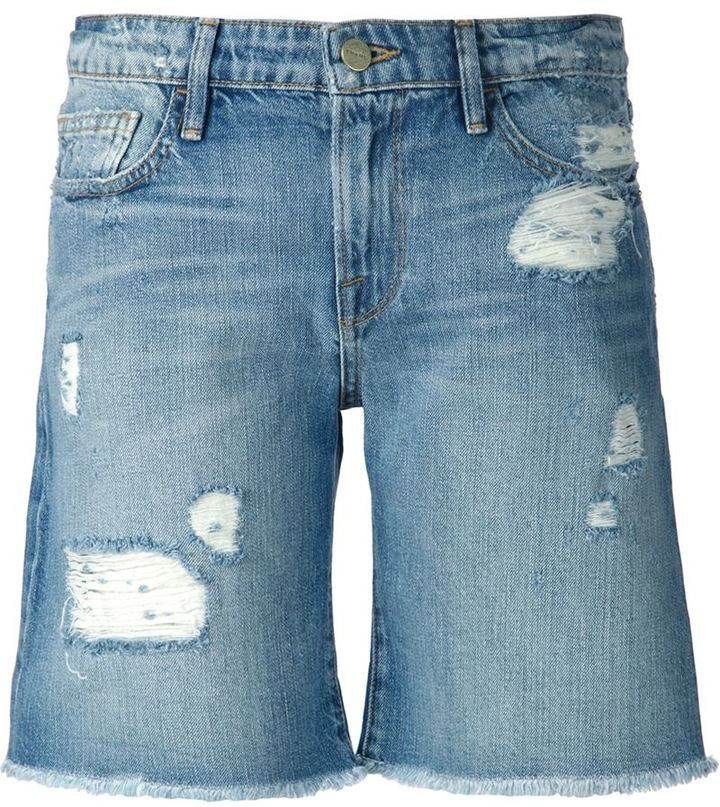 $195, Frame Denim Distressed Shorts. Sold by farfetch.com. Click for more info: https://lookastic.com/women/shop_items/205389/redirect