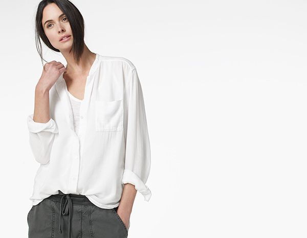 LIGHTWEIGHT WOVEN COLLARLESS SHIRT - WOMEN - James Perse - WMA3814 ...