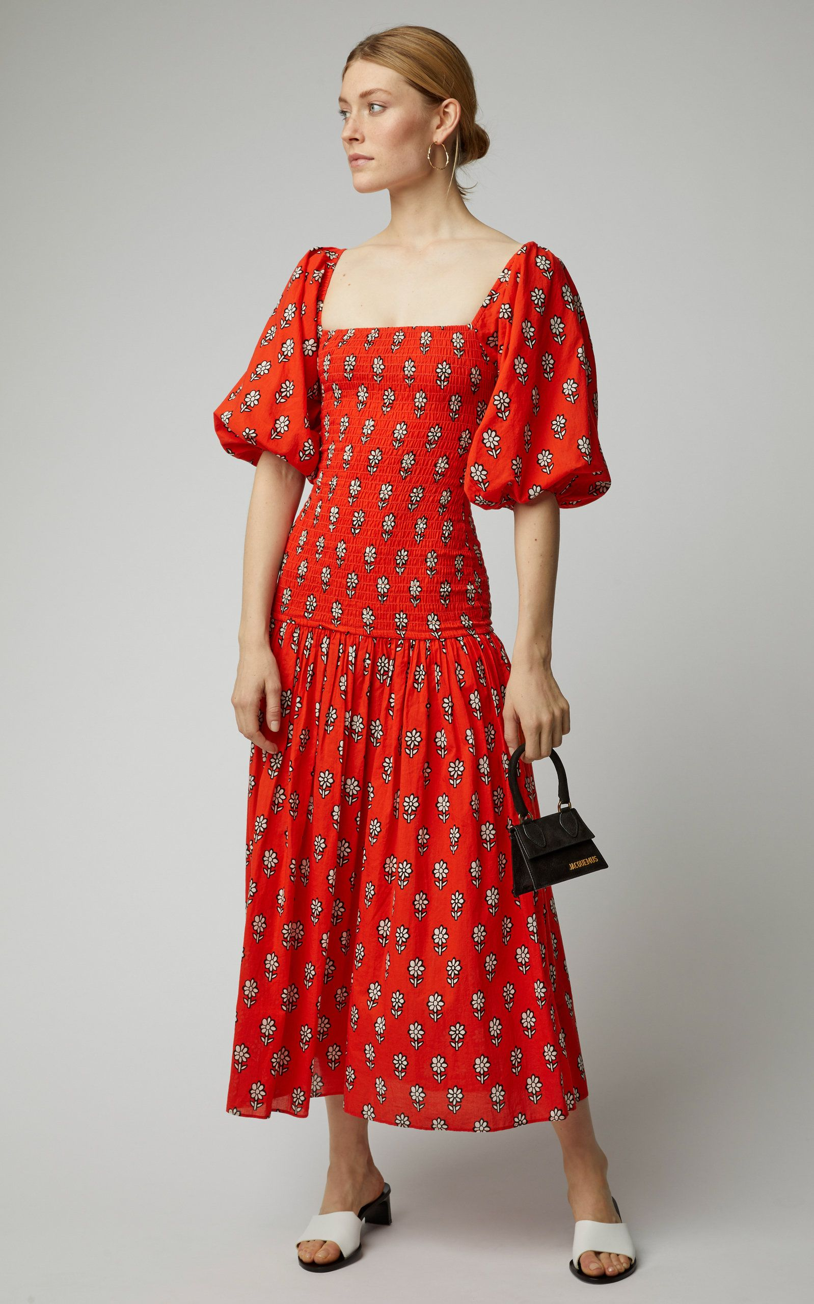Harper Smocked Printed Cotton Dress By Rhode Resort Now Available