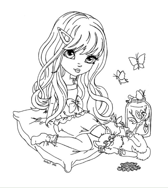 Petite Fille Assise Avec Un Chat A Cote Livre De Couleur Dessin