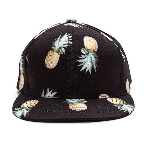 efd2c2a0f3b Pineapple Upside Down Cap BLACK ( 12) ❤ liked on Polyvore featuring  accessories